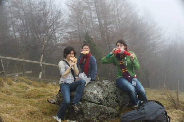 Picnic in the fog over Rosendal, Norway