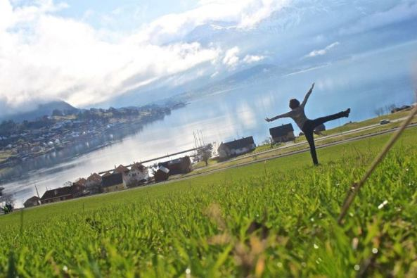 Yoga by the fjord in Rosendal, Norway