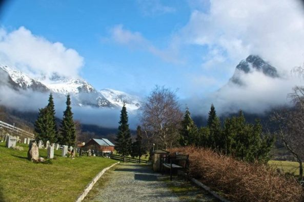 A mountain graveyard in Rosendal, Norway