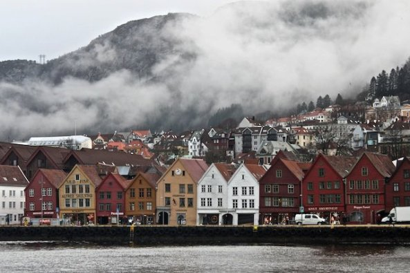 Clouds over Bryggen in Bergen, Norway