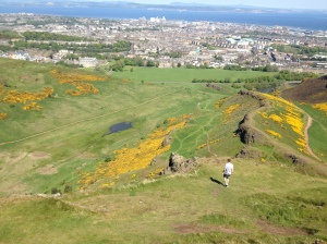 KC Owens ate lunch at the peak of Arthur's Seat  during his visit to Scotland.